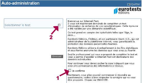 Page d'accueil de la plateforme d'eurotest éditions.