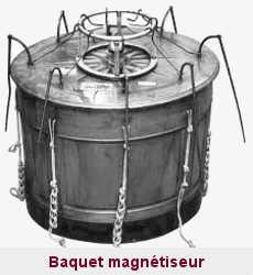 Le baquet à magnétisme de Mesmer était utilisé par le Tout-Paris au XVIIIème siècle pour déclencher des crises convulsives.