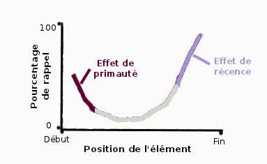 La courbe de l'effet de position sérielle montre que les premiers et les derniers éléments sont mieux rappelés que les éléments positionnés au milieu d'une liste.