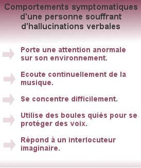 L'hallucination verbale est un type d'hallucination auditive particulièrement difficile à gérer. Plusieurs symptômes apparaissent à travers des comportements tels qu'écouter de la musique constamment, mettre des boules quies, avoir des difficultés à se concentrer, parler à un interlocuteur imaginaire...