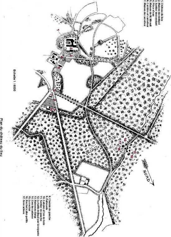 Ce plan du château regroupe les différents lieux stratégiques évoqués par Mme Morel, lors de ses moments de lucidité, permettant ainsi de retracer le parcours qu'a effectué le vieillard dans la forêt avant de mourir.