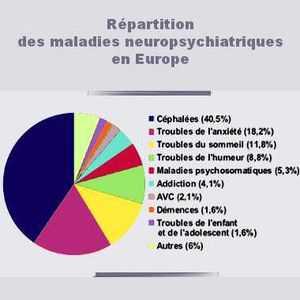 La proportion de chaque maladie mentale en Europe est très variable. Les céphalées sont les plus répandues, loin devant les troubles anxieux, du sommeil, de l'humeur, l'alcoolisme, les AVC et les démences.