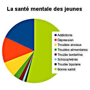 Addiction, dépression, troubles anxieux, trouble borderline, schizophrénie et trouble bipolaire, sont les principales maladies mentales dont soufrent les jeunes aujourd'hui.